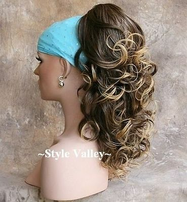 Brown Blond Ponytail  Clip in on Extension Hairpiece Long Curly Hair Piece  NEW