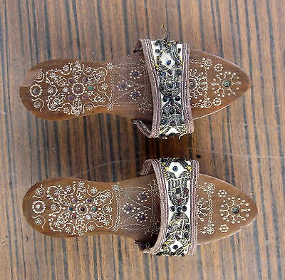 Antique Native Turkish Ottoman Empire Folk Art Child Slippers Clogs For Girl