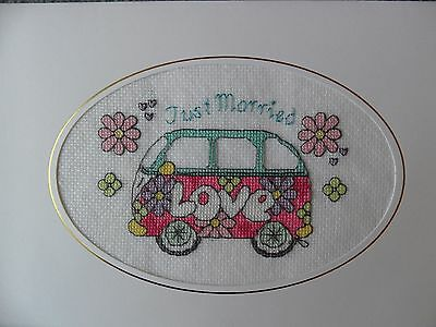 extra large completed cross stitch card - VW campervan Just Married  Wedding Day