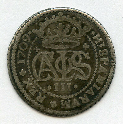 Spain 1709 Carlos Iii 2 Reales Silver,toned Scarce Coin.