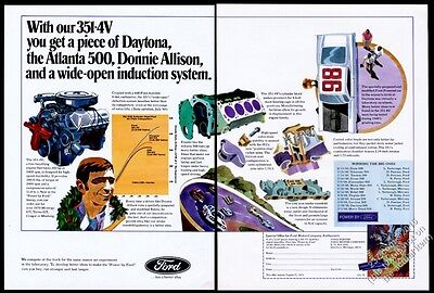 1970 Ford Boss 351 Cleveland engine Donnie Allison race car art vintage print ad