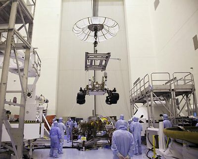 Technicians Lower Curiosity Rover with Crane 11x14 Silver Halide Photo Print