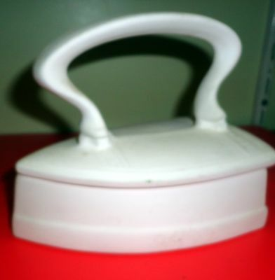 CERAMIC IRON SHAPED BOX - Excellent holder for your sewing pins and needles.