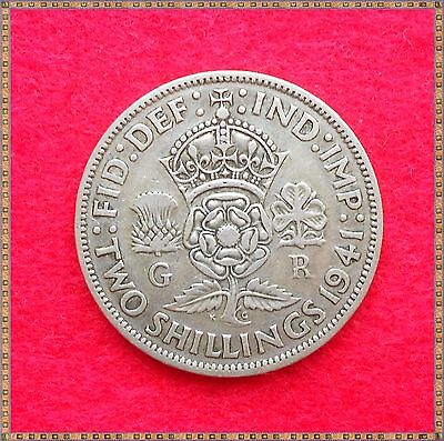 1941 George Vi Silver Florin/ Two Shillings (2/-) Coin.