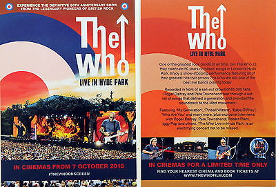 2 X The Who - Live In Hyde Park Film Flyer Postcards