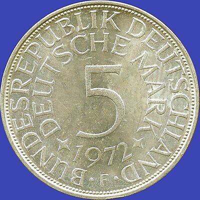 1972 'F' Germany 5 Mark Silver Coin (11.2 grams .625 Silver)