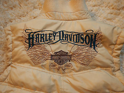 Harley Davidson Womams Quilted Tan VEST: w/ Embroidered Logo & Full Zip: Size S