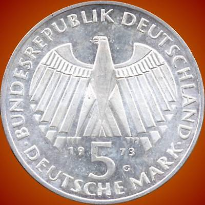 1973 'G' Germany 5 Mark Silver Coin (11.2 Grams .625 Silver)