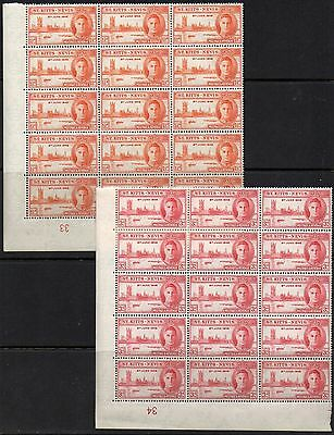 St Kitts-Nevis  1946  Victory Pair  *** M N H *** Cylinder Corners