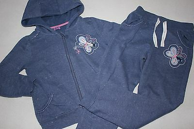 Set: Gorgeous blue tracksuit with butterflies by F&F , 6/7 yrs