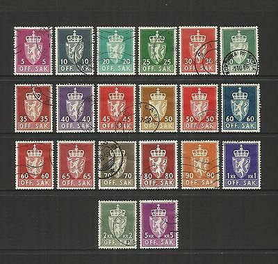 Norway Norge ~ 1955-68 Official Service Stamps (Part Set) Used