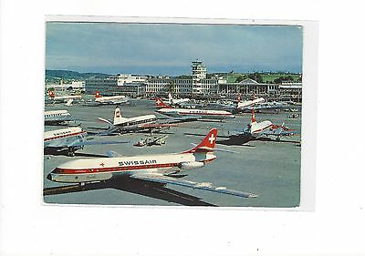 Swissair airlines caravelles & many props at Zurich airport cont/l postcard