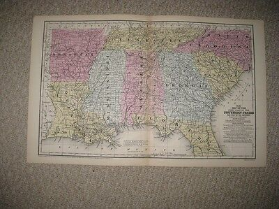 Mint Antique 1858 Florida North South Carolina Georgia Louisiana Alabama Map Nr