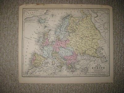 Superb Antique 1858 Europe South America Handcolored Map Germany France Italy Nr