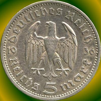 1936 'A' Germany 5 Mark Silver Coin ( 13.88 g .900 Silver )