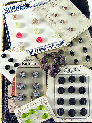 8 Sets of Antique Doll Size Glass Buttons, Dimi, Purple, Black, Green, Assorted