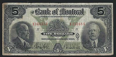 Bank of Montreal  5 Dollars 1923 Canada Chartered Banknote