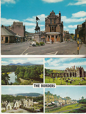 High Street And Horse Monument Hawick 1968 + Borders 1971 Used Postcards Stamped