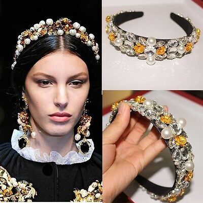 Italy Fashion 17 New Runway Hot Baroque Style Pearl Diamond  Headpieces Hairpin