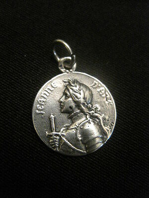 Sterling Silver Jeanne d'Arc. French, Antique Religious Pendant Charm