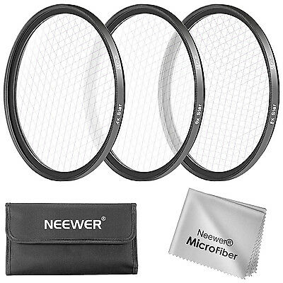 Neewer 3 Pieces 58MM Star Filter Kit for Canon Nikon DSLR Cameras