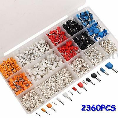 2360Pcs Assorted Insulated Wire Copper Terminal Crimp Cord Pin End Connector Kit