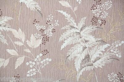 1940s Vintage Wallpaper White and Gray Ferns on Mauve