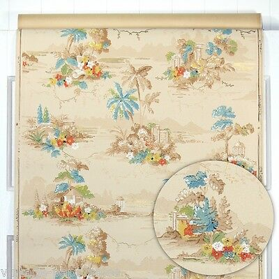 1930s Vintage Wallpaper Antique Tropical Scenic Rare and Amazing