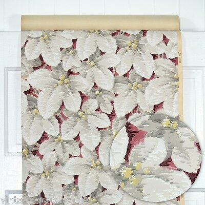 1930s Vintage Wallpaper White and Gray Leaves with Yellow Berries on Burgundy