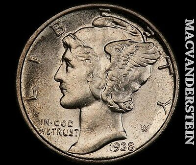 1938 Mercury Dime- Brilliant Uncirculated !! Luster !! #q2384