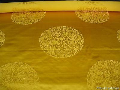 Fine Antique Chinese Imperial Yellow Silk Satin Panle W Double Dragon Roundels