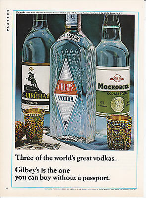 Original Print Ad-1966 Gilbey's Is The One You Can Buy Without A Passport-VODKA