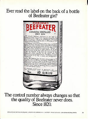 Original Print Ad-1967 BEEFEATER GIN-The control number always changes-Since1820