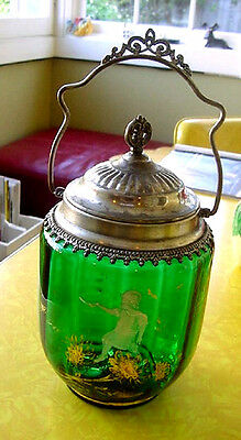 Victorian Mary Gregory GREEN Glass Biscuit Jar, Metal Mounts, Girl, Gold Flowers