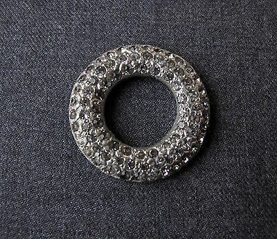 Antique Art Deco Rhinestones Silvered Metal Rounded Applique For  Jewelry Making