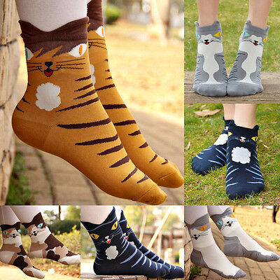 US STOCK 3D Fashion Print Animal Casual Socks Cute Cat Low Cut Ankle High Socks