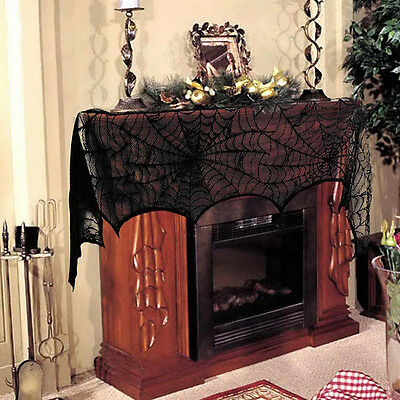 Halloween Window Decoration Cobweb Fireplace Scarf Lace Spiderweb Mantle Cover