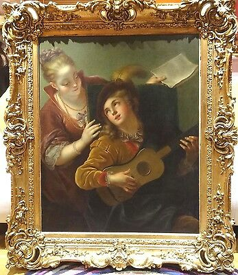 Huge Fine 17th Century Old Master Italian Holy Family Cherub Antique Painting