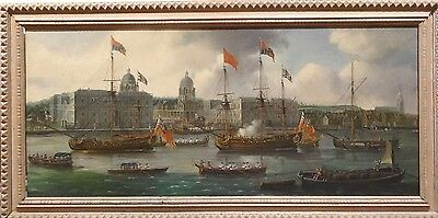 Large View of 18th Century Ships River Thames London Navy Oil Painting CANALETTO