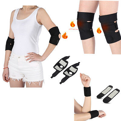 Self Heating Magnetic Therapy Tourmaline Wrist Elbow Knee Belt 1 Pair EB