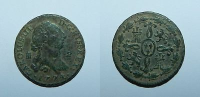 SPAIN : 2 MARAVEDIS 1774 - CHARLES III - High Grade - Excellent Patina