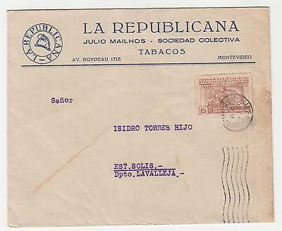 URUGUAY, 1943 5c. on Tobacco cover, Montevideo to Solis.