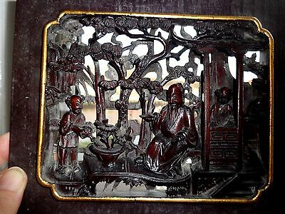 ANTIQUE  19thc  CHINESE HAND CARVED  PANEL: DEEP CARVED ROSE WOOD ?