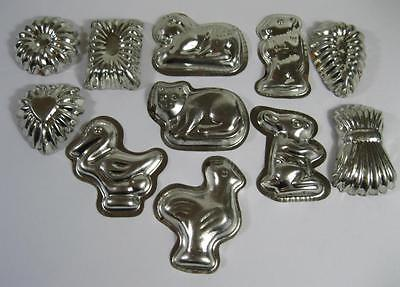 Mini metal chocolate mould/mold x 10 animals cat bunny duck