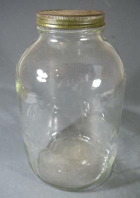 Vintage deco depression huge glass jar -metal lid -kitchenalia