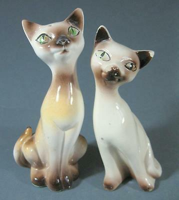 Retro/vintage 60s-70s ceramic cat salt & pepper shakers x 2 kitsch pottery