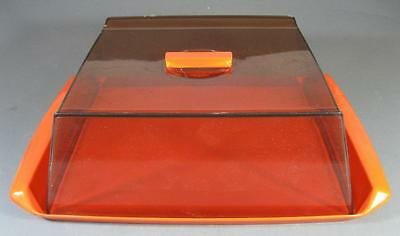 Retro orange 70s plastic Decor lidded cake tray space-age/kartell-era