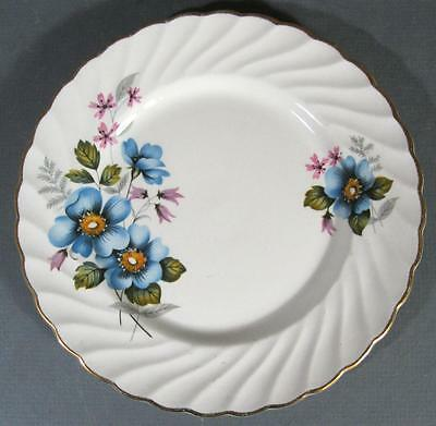 Shabby vintage James Kent Old Foley bone china plate blue/pink flowers -chic