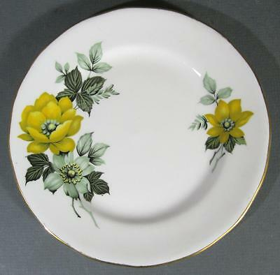Shabby vintage Queen Anne English bone china plate yellow/white flowers chic