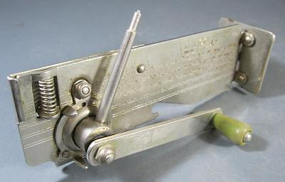 Vintage Wilco wall-mount can opener metal/green bakelite c/w bracket kitchenalia